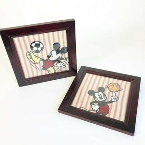 Vintage Disney Two Framed Pictures Mickey Mouse